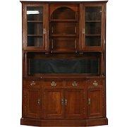 Oak 1895 Victorian Sideboard Server & China Cabinet
