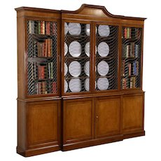 Baker Signed Cherry 8' Vintage Bookcase or Breakfront China Cabinet