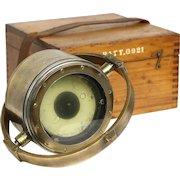 Ship Compass & Case, Brass 1920's Antique Nautical Instrument, Liquid Filled
