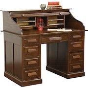 Rolltop 1910 Antique Solid Oak Desk, File Drawer, Made in Germany