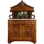 Victorian Carved Walnut 1870 Antique Marble Top Sideboard, Server Buffet