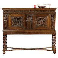 Dutch 1700's Antique Oak Sideboard or Console, Carved Figures, Later Base
