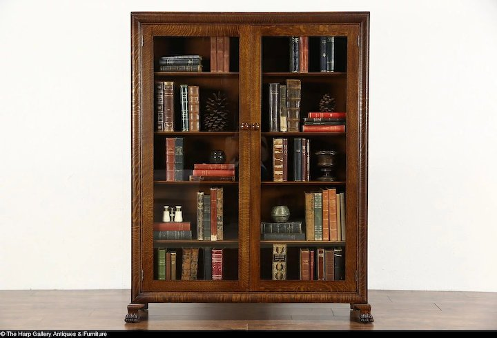 Oak 1900 Antique Library Bookcase Glass Doors Lion Paw Feet Harp