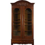 Victorian 1860's Antique Carved Walnut Library Bookcase, Wavy Glass Doors