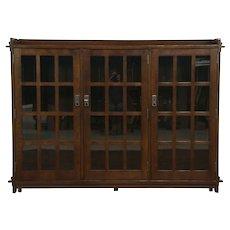 Arts & Crafts Mission Oak Triple Craftsman Bookcase Signed 1992 Stickley  #28759