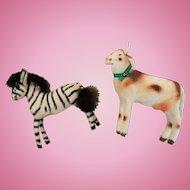 German Flocked Handwork Kunstlerschutz Zebra and Cow Miniatures