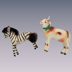 German Flocked Handwork Kunstlerschutz Zebra and Cow Miniatures