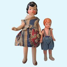 Two Painted Bisque Doll House Dolls