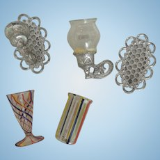 Delicate Spiral Doll House Glasses and Sconce Parts
