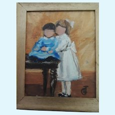 Darling Artist Doll House Oil Painting Signed JG with Children