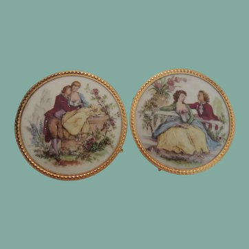 Lovely Pair of Limoges Porcelain Lady and Gent In Great Outfits