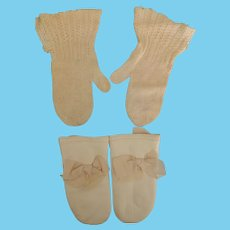 Two Pair Darling Baby Mittens * One Soft Kid Leather