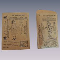Two Tiny McCall Doll Clothing Pattern Envelopes for Antique Dolls