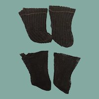 Two Pair Old Open Weave Black Stockings for German or French Bisque Dolls