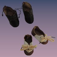 Two Pair Doll Small Shoes In Well Loved Condition