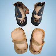 Two Pair of Vintage Doll Shoes for 1940 - 1950 Dolls