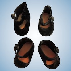 Two Pair Black Side Snap Shoes for Alexander-kins and Others