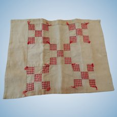 Small Vintage Red Checked Doll Quilt