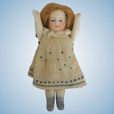 German All Bisque Doll with Blue Boots and Sweetest Dress