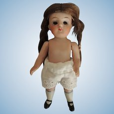 German All Bisque SWC Chubby Girl Doll with Glass Eyes