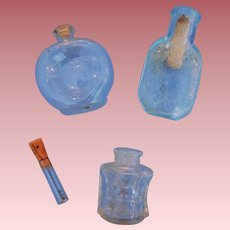 Three Tiny Glass Bottles for Fashion Doll's Trousseau