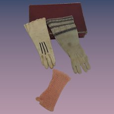 Three Single Gloves for French Fashion Dolls