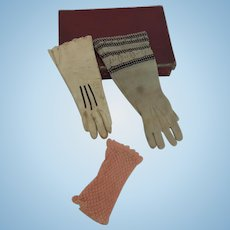Three Single Gloves for French Fashion Dolls