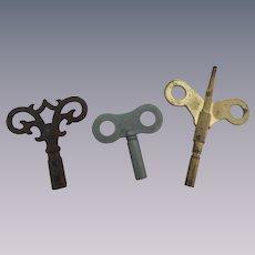 Three Nice Clock Keys with One Fancy