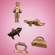 Four Tiny Metal Charms Includes Pig Plus Frozen Chalrlotte Type