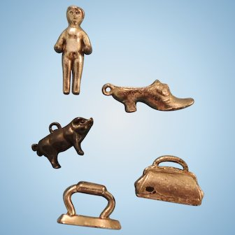 Four Tiny Metal Charms Includes Pig Plus Frozen Chalrlotte Type