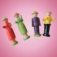 Four Tiny German Erzgebirge Wood Figures