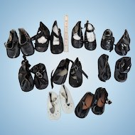 Nine Pair of Modern Replacement Doll Shoes