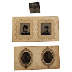 Tintype Miniatures with Women In Great Hats Plus Others