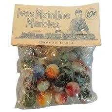 """Vintage """"Ives Mainline Marbles"""" In Original Bag"""