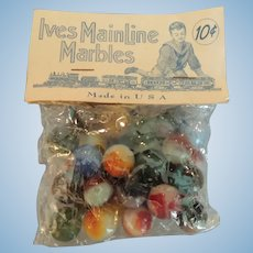 "Vintage ""Ives Mainline Marbles"" In Original Bag"