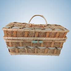 Lovely Woven Basket Perfect for Mignonette or Other Small Doll Treasure