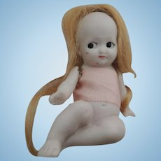 Tiny German All Bisque Hertwig Bathing Doll