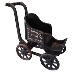 Cute Little Black Painted Heavy Metal Baby Carriage
