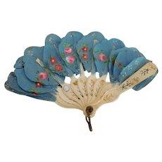 Pretty Blue Fan for French Fashion Doll * TLC