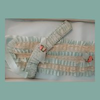 Gorgeous Old Store Stock Pale Blue Silk Ladies Bandeau with Garters In Box