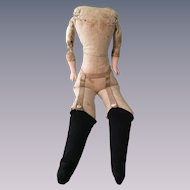 Funky Old Cloth Doll Body with Garters and Stockings