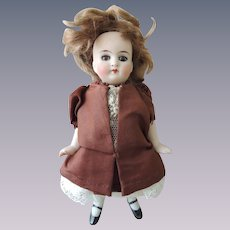German All Bisque Glass Eyed Doll with Boo Boos