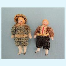 Tiny Pair of Original German All Bisque Carl Horn Boys