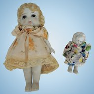 Large 7 Inch Japan Kewpie Type Carnival Doll with Little One