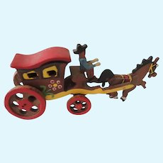 Sweet Miniature Wood Horse and Carriage for Doll Display