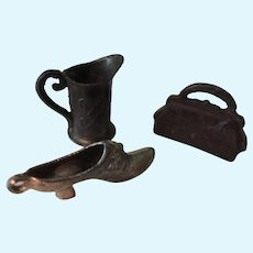Tiny Metal Charms * Purse Pitcher & Ladies Slipper