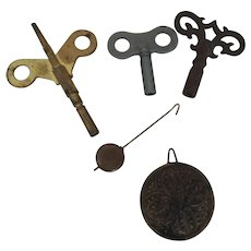 Nice Group of Larger Old Clock Keys and Pendulums