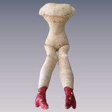 Charming Early Cloth Doll Body with Lovely Attached Red Boots and Polka Dot Socks