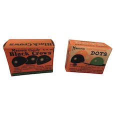 "Nostalgic Miniature Candy Boxes Mason's ""Dots"" and ""Black Crows"""
