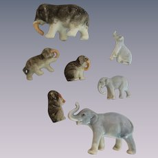 Miniature Elephant Families Bisque and China for Doll House or Dolls